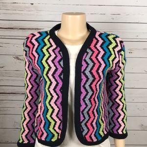 Vintage chevron knit open crop cardigan size S M